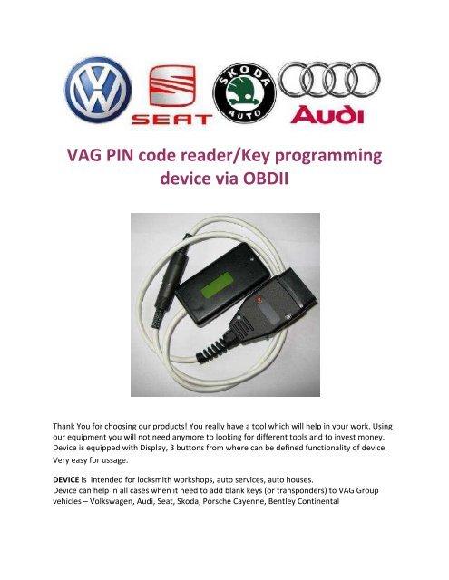 VAG PIN code reader/Key programming device via