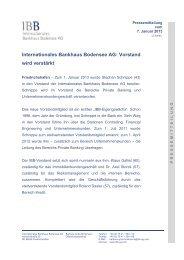Vorstand wird verstärkt - IBB - Internationales Bankhaus Bodensee AG