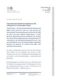 Bilanzpressekonferenz 2010 - IBB - Internationales Bankhaus ...