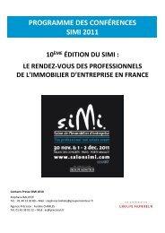 PROGRAMME DES CONFÉRENCES SIMI 2011 - Business Immo