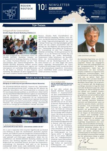 RMI Newsletter III 2011 - Region Rostock Marketing Initiative e.V.