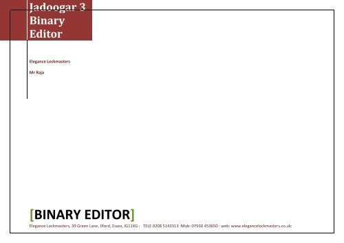 Jadoogar 3 Binary Editor - Elegance Lockmaster