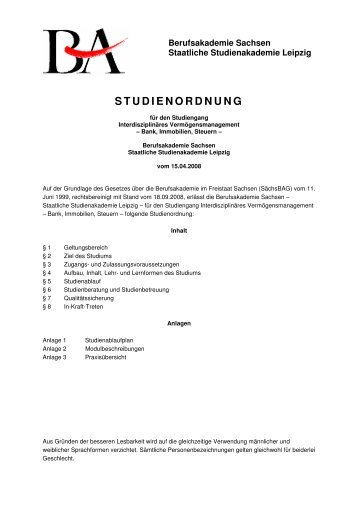 A1 Studienordnung - staatliche Studienakademie Leipzig