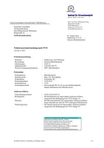 Trinkwasseranalyse Mittelehrenbach - der VG Kirchehrenbach
