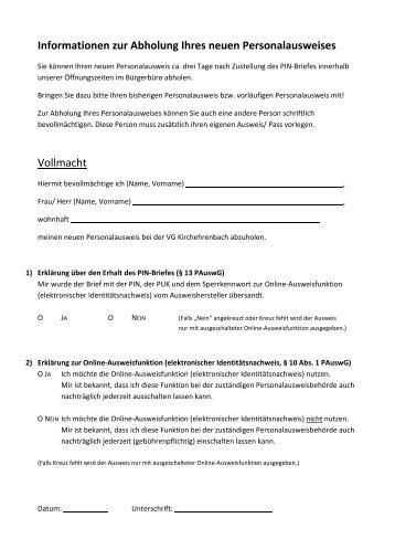Vollmachtserklärung Zur Abholung Eines Ausweisdokumentes