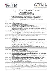 Programm der Verbände GEFMA und RealFM - Bau