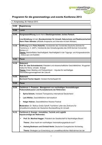 Programm für die greenmeetings und events Konferenz 2013