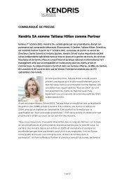 Kendris SA nomme Tatiana Hilton comme Partner