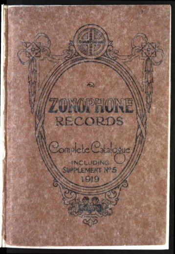 Zonophone Records Complete Catalogue 1919 - British Library ...