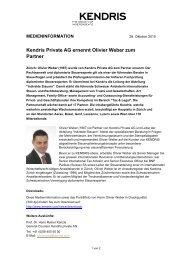 Kendris Private AG ernennt Olivier Weber zum Partner