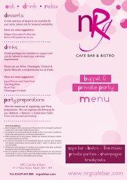 Buffet Menu - NRG Cafe Bar & Bistro
