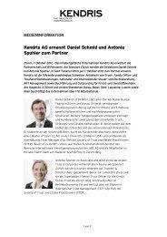 Kendris AG ernennt Daniel Schmid und Antonia Spuhler zum Partner