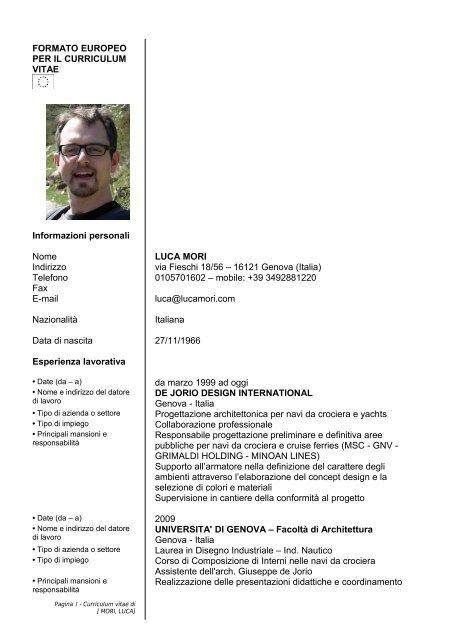 Formato Europeo Per Il Curriculum Vitae Luca Mori