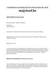 CONDITIONS GENERALES D'UTILISATION DU SITE majykool