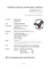 Internationales Taekwondo Turnier am 26.11.2011 in Bochum