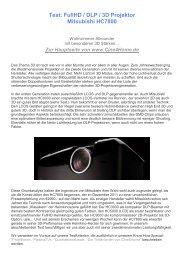 Test: FullHD / DLP / 3D Projektor Mitsubishi HC7800 - Beamer-Test