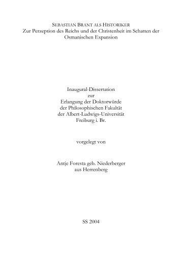 Zur Perzeption des Reichs und der Christenheit im - FreiDok ...