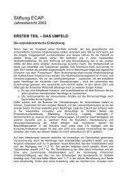 DIE STIFTUNG IM JAHR 2002 - ECAP
