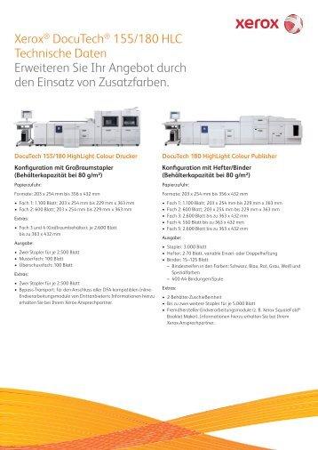 Xerox® DocuTech® 155/180 HLC Technische Daten Erweiteren Sie ...