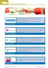 Anbieterübersicht p&a Special: Pharmamarktforschung - Planung ...