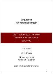 Angebote für Veranstaltungen Die ... - Bremer Ratskeller