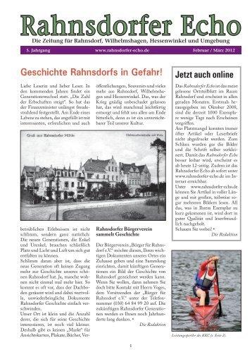 Ausgabe 12/01 - Februar / März 2012 - Bürger für Rahnsdorf
