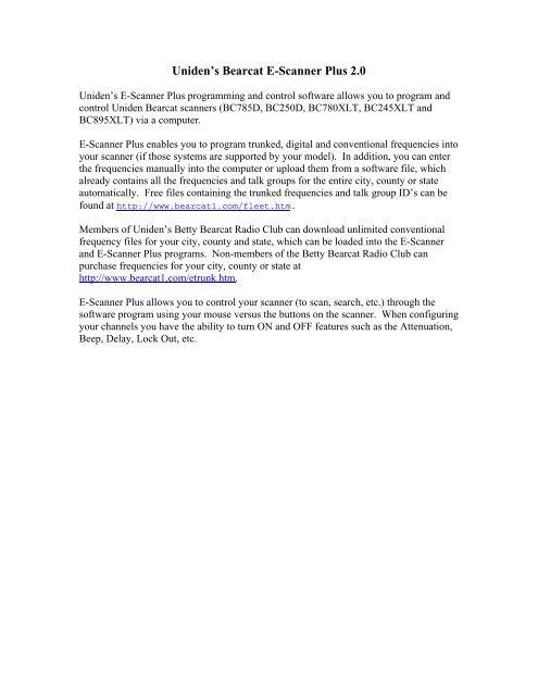 Uniden's Bearcat E-Scanner Plus 2 0 - Thiecom