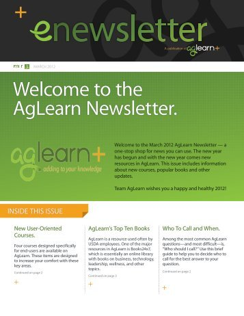 Welcome To The AgLearn Newsletter