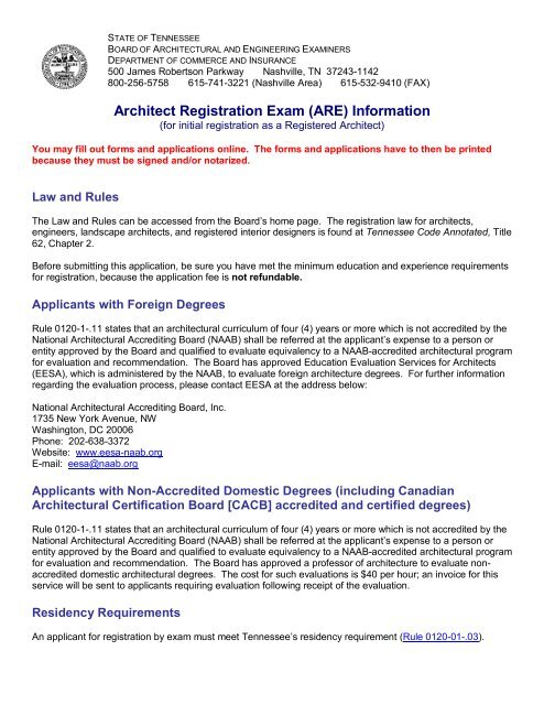 Architect Registration Exam (ARE) Information - Tennessee
