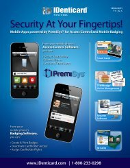 Security At Your Fingertips! - IDenticard Systems, Inc.
