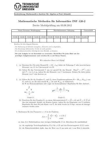 Mathematische Methoden für Informatiker INF–120-2 Zweite ...