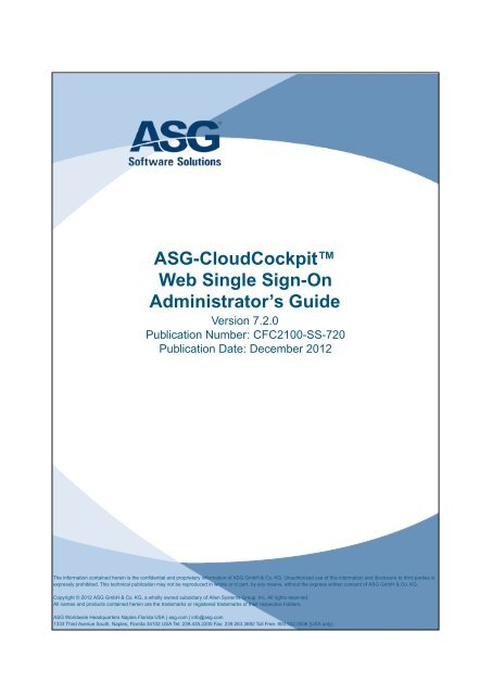 ASG-CloudCockpit Web Single Sign-On Administrator's Guide