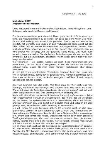 Ansprache Rektor Thomas Multerer - Gymnasium Oberaargau
