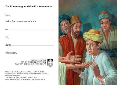 Bildchen zur Erinnerung an die Erstkommunion - Bonifatiuswerk