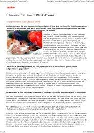 Interview mit einem Klinik-Clown - ARTE - ROTE NASEN eV Clowns ...