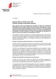 Audit du RSV, de l'ICHV et de l'OVS Première ... - Etat du Valais