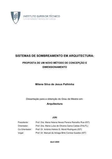 sistemas de sombreamento em arquitectura - Universidade Técnica ...