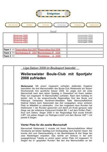 Weilerswister Boule-Club mit Sportjahr 2008 ... - BC Weilerswist