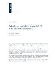 Optimaler und erweiterter Einsatz von SAP PM in der ... - KIW