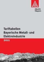 Tariftabellen Bayerische Metall- und Elektroindustrie 2011