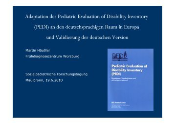 Adaptation des Pediatric Evaluation of Disability Inventory (PEDI) an ...