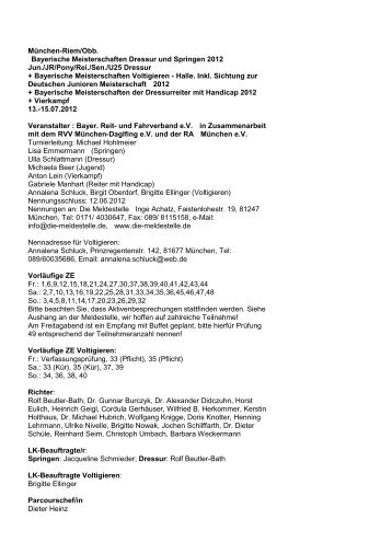 Ausschreibung - Voltigieren in Bayern