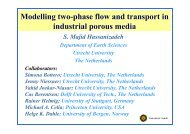 Modelling two-phase flow and transport in industrial porous media