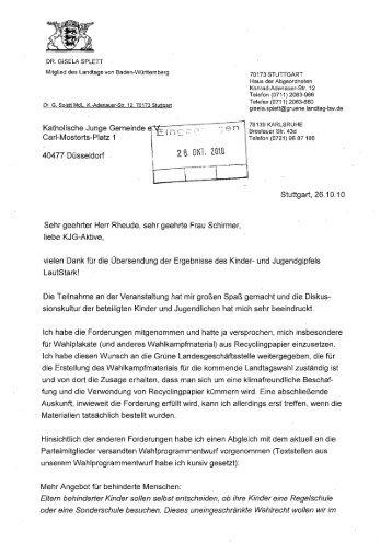 Antwort Gisela Splett - KjG