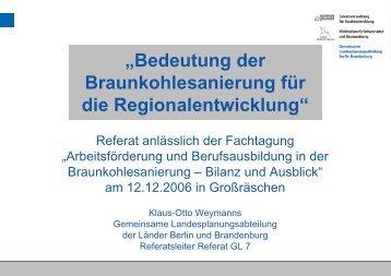 """""""Bedeutung der Braunkohlesanierung für die Regionalentwicklung"""""""
