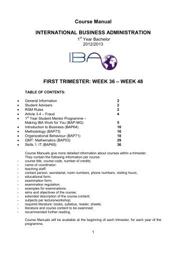 Course Manual INTERNATIONAL BUSINESS ADMINISTRATION ...