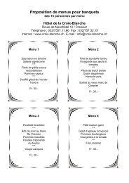 Proposition de menus pour banquets - Croix-Blanche