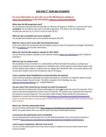 FAQ FOR 1 YEAR IBA STUDENTS: - Rotterdam School of ...