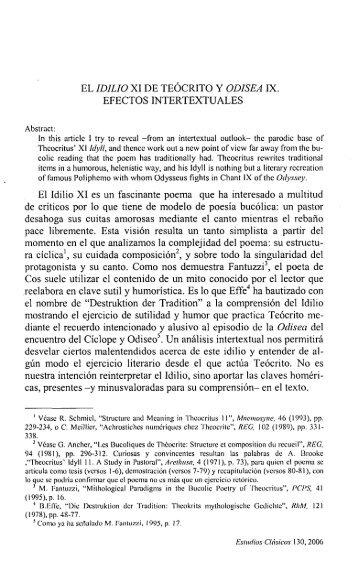 EL IDILIO XI DE TEÓCRITO Y ODISEA IX. EFECTOS ... - InterClassica