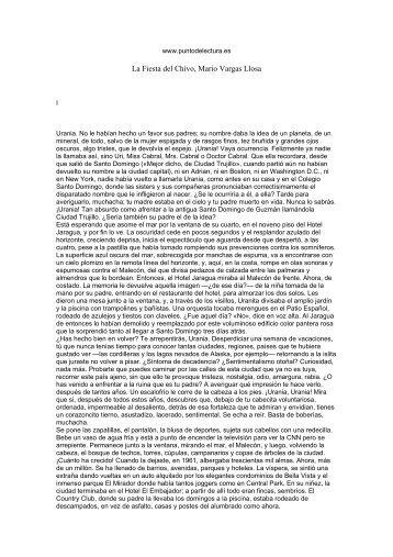 Primeras páginas de 'La Fiesta del Chivo' - Prisa Ediciones